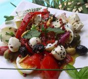 Recette - Salade multicolore aux 4 fromages